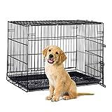 Relaxdays 10023299_60  Hundekäfig faltbar, Auto Transportbox, Welpenkäfig,  für  große Hunde, Metall Gitterbox mit Schale, XL, schwarz