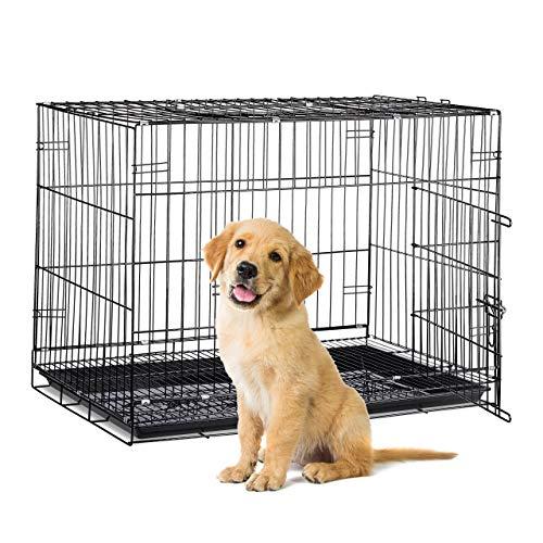 Relaxdays 10023299_60  Hundekäfig faltbar, Auto Transportbox, Welpenkäfig,  für  große Hunde, Metall Gitterbox mit Schale, XL, schwarz -