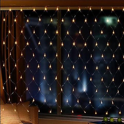 【2M × 3M 200LED 8 Modos de Flash】 Red Malla Cortina de Luz con Buen Brillo y Bajo Consumo de Energía Iluminación de la decoración para Ventanas Jardín Patios Fachadas Entradas Bares Navidad Día de San Valentín Bodas Luz de