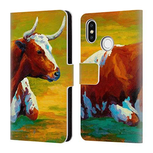 Head Case Designs Offizielle Marion Rose Longhorn Kuh Rinder Brieftasche Handyhülle aus Leder für Xiaomi Mi 8
