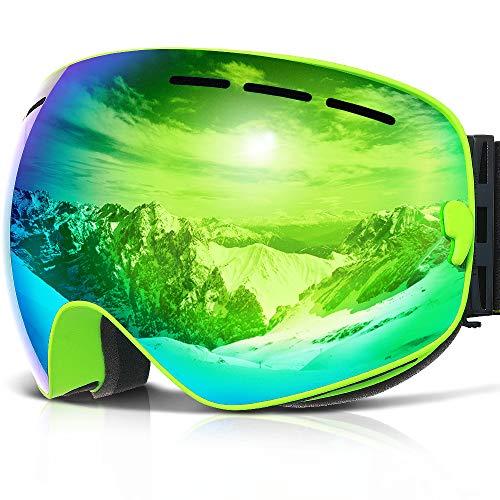 Skibrille ,COPOZZ G1 Ski Snowboard Brille Brillenträger Schneebrille Snowboardbrille Verspiegelt - Für Damen Herren Frauen Jungen - Mit Sehstärke OTG UV-Schutz Anti-Fog Grüne