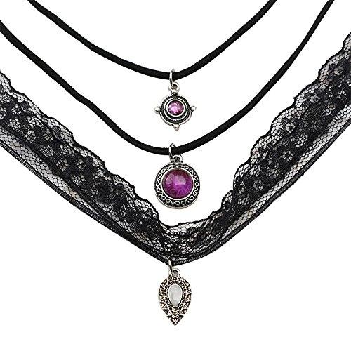 Outflower Simple Elegante Collar de Encaje de la Personalidad Señoras de Terciopelo de Encaje Diseño Clásico Collar Gótico