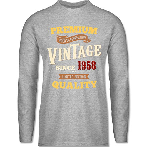Shirtracer Geburtstag - 60. Geburtstag Vintage 1958 - Herren Langarmshirt Grau Meliert