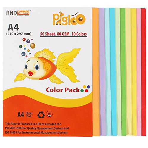 PIGLOO™ Premium A4 Color Paper for Photocopy, Art & Craft - 50 Sheets. 10 Colour. 80GSM