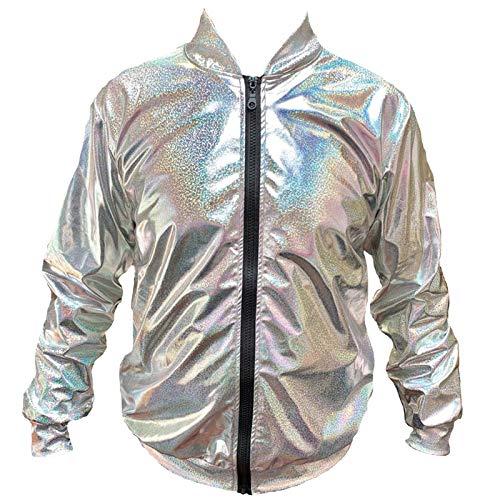 Mixed 70er Jahre 80er Jahre 90er Jahre Qualität Metallic Shiny Rave Bomber Jacke Hologramm Festival Kostüm (Silber XLarge) (70er Jahre Kostüm Männlich)