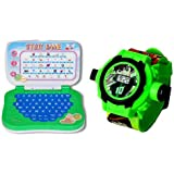 AQUARAS Mini Educational Learning Laptop And Ben10 Kids Projector Watch