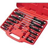 12PC HEAVY DUTY MECHANICS GO-THROUGH SCREWDRIVER SET ENGINEERS HEX SHANK POZI by Marksman