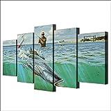 SHENGPAINModerne Toile Photos HD Imprimé Mur Art Cadre 5 Pièces Océan Poisson Soldat Pêche Salon Décor À La Maison Peinture Affiches