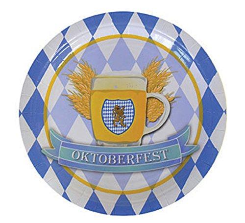 Confettery - Motto-Party Papier-Pappteller mit Wappen Oktoberfest, Rauten, blau weiß, (Bier Karton Kostüm)