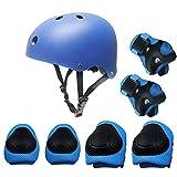 Conjunto de engranajes protectores para niños, monopatín patinaje BMX Scooter Ciclismo almohadillas protectoras (almohadillas para rodillas + almohadillas para codo + almohadillas para muñeca casco) Azul