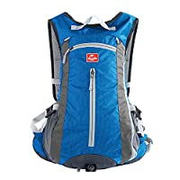 Hiking Backpack, MALEDEN Wate Resistant Outdoor Sports Daypack for Cycling, Skiing, Climbing and Travelling with Helmet & Bottle Holders (Sky Blue, 15L)