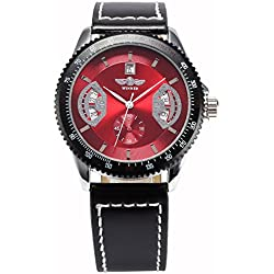 AMPM24 New Mens Red Black Leather Hand Winding Mechanical Men'S Sport Wrist Watch + AMPM24 Gift Box PMW009