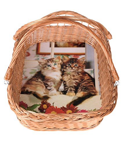 Dkaren Handgeflochtener Weidekorb, Tablettkorb mit Bügel -Katzen- Wk056
