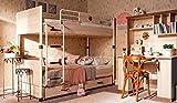 Dafnedesign.Com - Cameretta Completa - Letto a Castello con cassettone a Scomparsa, Tre materassi, Due Coperte, scrivania e Parete Studio - [Serie: Dafne-Reale] - (DF11)