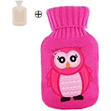 Encantador pequeño búho patrón de la botella de agua caliente de felpa 500 ML Hand Warmer, Rose