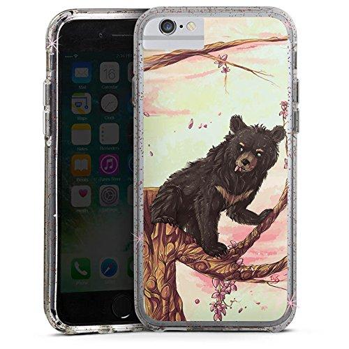 Apple iPhone 6 Bumper Hülle Bumper Case Glitzer Hülle Baer Bear Braunbaer Bumper Case Glitzer rose gold