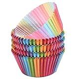 LQZ 100stk Regenbogen Muffinförmchen Backförmchen Pralinenförmchen Backen Muffin Cup Kindergeburtstag Party