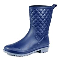 AgeeMi Shoes Womens Round Toe Mid-Top Boots Waterproof Lattice Rain Boots,EuY08 Blue 36