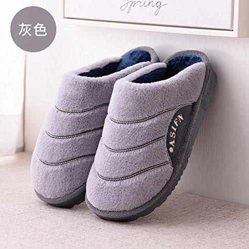 DogHaccd pantofole,Il cotone pantofole uomini di spessore del pacchetto invernale con piscina coperta anti-slittamento home il pavimento in legno Home Plus il velluto di cotone coppie pantofole uomini Grigio3