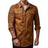 YunYoud Männer Casual Slim Fit Button Shirt mit Tasche Langarmshirts Bluse seersucker hemden günstige online kaufen moderne freizeithemden hemd mode dunkelblaues