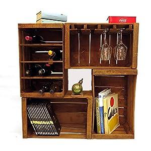 Fruit Boxen, Flaschenregale, Bücherregal, Weinbar Möbel aus 4 Vintage-Boxen 51x31x28 cm