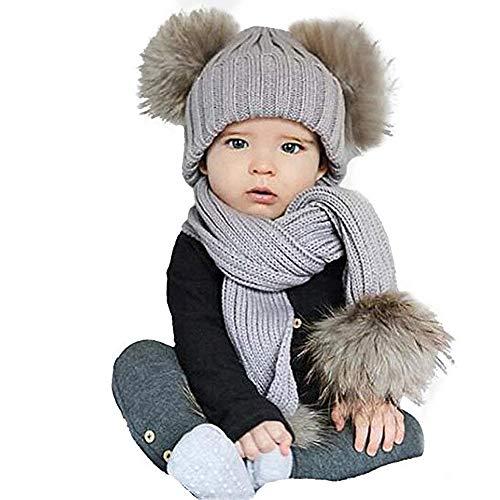 Youth Union Wintermütze Warm, Strickmütze Schal Set für Baby Mädchen Jungen Kinder Unisex mit Pelz Bommel (Grau) (Mädchen Im Pelz)