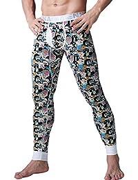 YiLianDa Hombre Pantalón Imprimir Pantalones Ropa Interior Térmica Johns Largo ...