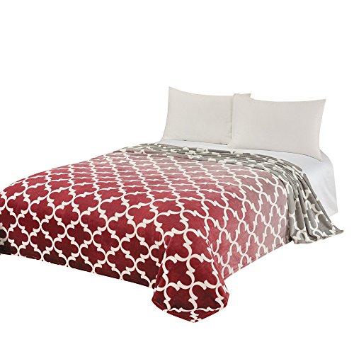 Burgund Akzente (CaliTime Super Weiche Kuscheldecken Für Bett Sofa Couch, Gradient Shadow Geometrischer Akzent 150cm x 220cm Burgund)