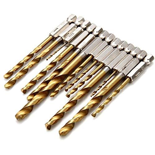 gasea 13Teile 1,5mm–6,5mm HSS Titan beschichtete Bohrer Bit-Set mit 1/10,2cm Sechskant-Schaft, Quick Change Twist-Bohrer für Holz-, Kunststoff und Metall