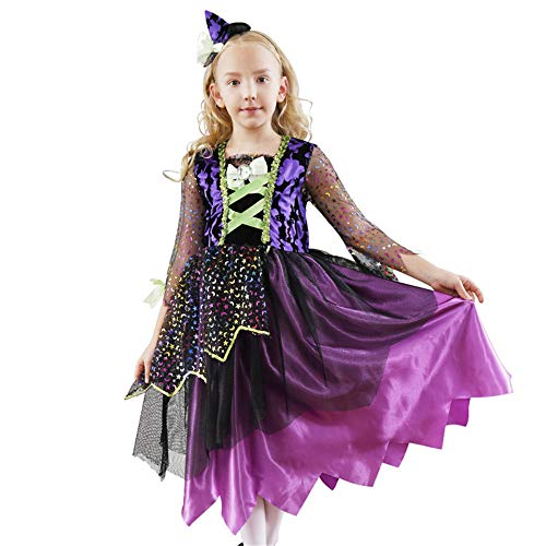 ZGCP Halloween Kostüm Kinder Prinzessin Hexe Bühnenkostüm Maskerade Hexenkostüm lila - Zombie Kostüm Inspiriert