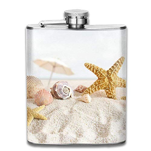 Beautiful Shell On Beach Fashion Portable Stainless Steel Hip Flask Whiskey Bottle 7 Oz