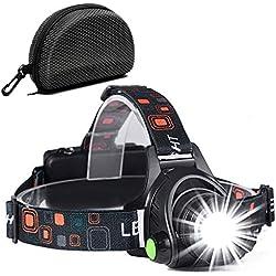 Linterna Frontal, a Prueba de Agua y Recargable con USB, Función de Zoom, Linterna Frontal de Led, Linternas Frontales Ajustables con �ngulo De 90 Grados para Correr, Andar en Bicicleta
