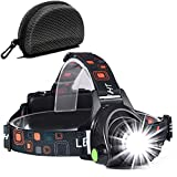 Head Torch, Zoomable Waterproof USB Rechargeable Head Torches, 90 Degree Angle Adjustable Led Headlamp, 3 Modes Light Weight Led Torch for Camping, Running, Hiking, Kids, Walkers Head light (Black)