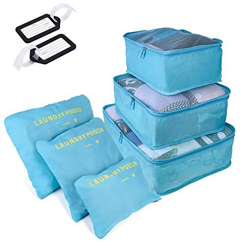 6 PCS Organizadores de Viaje para Maletas, Bolsas de Equipaje Impermeable Cubos Embalaje de Viaje Bolsas de Almacenamiento para Ropa Zapatos, Cosméticos Accesorios, Material Nylon (Gris) (Azul Claro)