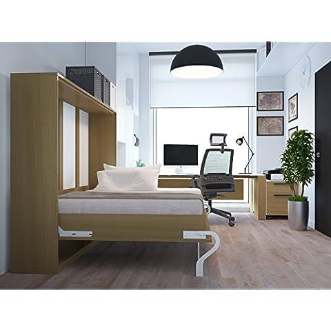 SMARTBett - Cama plegable de pared,140 x 200 cm, haya, ideal para invitados, armario, aparador