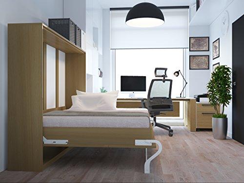Schrankbett 140cm Horizontal Buche SMARTBett mit Tonnentaschenmatratze 140x200 cm, ideal als Gästebett - Wandbett, Schrank mit integriertem Klappbett, Sideboard