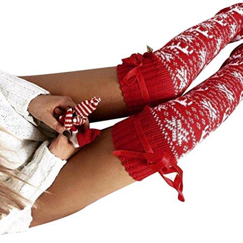 AMUSTER Mädchen Frauen über Kniestrümpfe Lange warme Baumwollstrümpfe Weihnachten Warm Strick Socken Kniestrümpfe (Anti Weihnachts Kostüm)