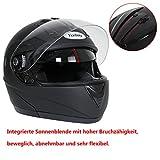 Yorbay Motorradhelm Integralhelm Doppelvisier mit integrierter Sonnerblende in verschienden Größen (XL, Schwarz matt) - 4