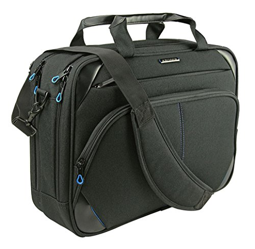 KROSER Laptoptasche 15,6 Zoll Laptop Aktentasche Laptop Umhängetasche Wasserabweisend Computer Tasche Laptop Schultertasche Durable Tablet Hülle mit RFID Taschen für Business/College/Frauen/Männer-Schwarz /Blau