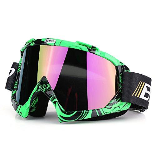 Qiilu Dirt Bike Occhiali da Sole di Protezione Maschera Occhialoni per Attività Esterna Motocicletta (Green,Other)
