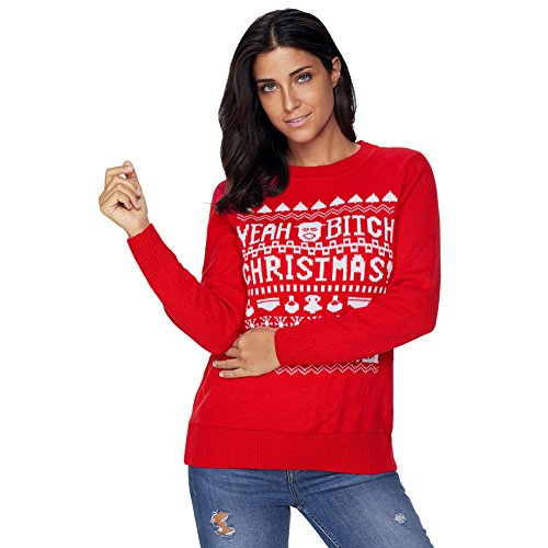 MEI&S Grande taille femme Baggy Tricot col rond Top Pull chandail tricoté de cavalier Red