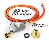 Anschluss-Set bestehend aus Druckminderer 30 mbar Gasschlauch 80 cm + Übergang 1/2