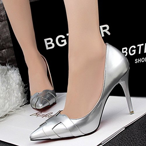 Minetom Damen Frühling Stylish Geschlossene Pumps Spitz High Heels Kleid Partei Stiletto Schuhe Silber