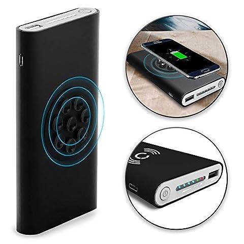 Cellonic® Wireless 2in1 Powerbank 8000mAh avec ventouse pour Qi sans fil avec indicateur de charge LED pour Samsung Galaxy S7, S7 Edge, S6, S6 Edge, Note 5 / Nokia, Microsoft Lumia 950, 930, 830, 735 (...) - Batterie chargeur externe USB