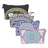 ZoomSky Borsa portatrucco 4 pezzi Porta cosmetici portatili modelli di fiori di mandala ideali in viaggio da toeletta sacchetto porta matita organizer per i trucchi delle donne e delle ragazze