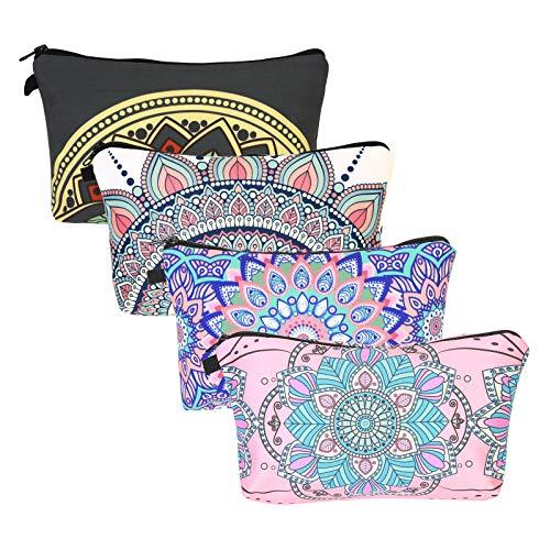 ZoomSky 4er Kleine Schminktasche mit Mandala-Blumen Handliche Kulturbeutel Damen Reise Kosmetiktasche Waterproof Makeup Tasche mit Reißverschluss für Handtasche in 4 Farben -