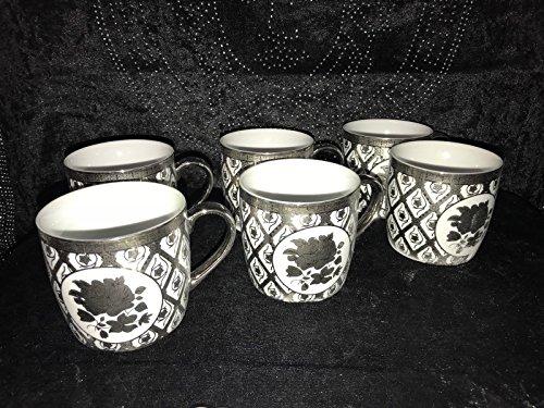 Medusa Kaffee Cappuccino Becher mit Löffel für 6 Personen Tassen Geschirr 12 Tlg (Silber 2)