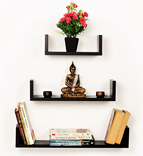 Bluewud Caesar Wall Book Shelf / Display Rack (Wenge, 3 Shelves)