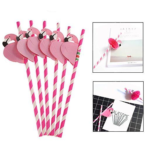 Jzhen 50 Stück Flamingo Papier Trinkhalme,Strohhalmen Dekorationen für Cocktail Hochzeit Geburtstag Party