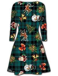 Fashion Essentials-Womens Schneemann Geschenk Baum Santa grün Tartan Weihnachten Swing Kleid
